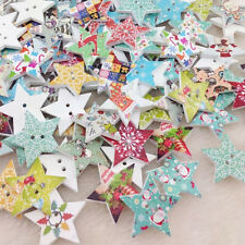 New 50pc Merry Christmas Star Wood Buttons Sewing Mix Lots WB195