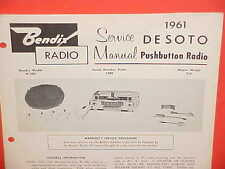 1961 DESOTO ADVENTURER FIREFLITE BENDIX AM RADIO SERVICE SHOP REPAIR MANUAL 61