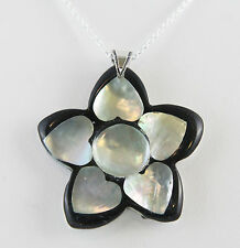"Mother of Pearl Heart Flower in Resin 42X42mm Necklace 24"" Chain Sterling Silver"