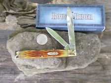 "RR102 Rough Rider Doctor's Knife 3 5/8"" Closed Amber Jigged Folding Pocket Knife"