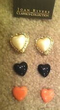JOAN RIVERS Crystal Trimmed Interchangeable Heart Clip Earrings