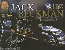 """SIGNED 2015 JACK BECKMAN """"INFINITE HERO DSR"""" NHRA FUNNY CAR HANDOUT/POSTCARD"""