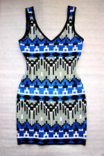 NWT bebe black blue white floral cutout sweater bodycon club top dress XL 12