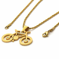 "Mens Gold Plated Stainless Steel Bike Pendant 2mm 24"" Inch Rope Chain Necklace"