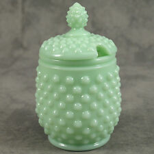 JADEITE GREEN GLASS LIDDED HOBNAIL SUGAR JAR HONEY POT w/ SPOON SLOT