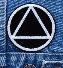 Alcoholics Anonymous Symbol Biker Motorcycle Patch by DIXIEFARMER - in White