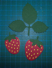8 strawberry card toppers Elizabeth Crafts paper die cuts vintage ornament fruit
