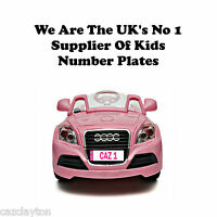 "PERSONALISED NUMBER PLATE FOR KIDS RIDE ON CAR ""IN PINK"""