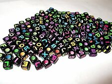 200pcs 7mm Alphabet CUBE Acrylic Beads - BLACK with Assorted Color Letters