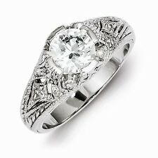 BEAUTIFUL ANTIQUE STYLE STERLING SILVER FILIGREE CZ RING - SIZE 6