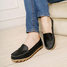 2016 Women Casual Leather Slip on Loafers Moccasin Flats Boat Oxfords Shoes S1