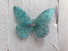 Teal Sparkly Butterfly Glitter Hair Clip Bridesmaid Flower Girl Wedding