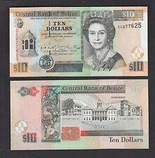 Belize 10 Dollars (2001) P62b Queen Elizabeth II banknote - UNC