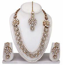 Bollywood Bridal Ethnic Gold Plated Diamond&kundan Necklace Earrings Jewelry Set