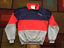 Vintage 80s Spyder Pullover POLO Sweater sz Small Red Gray Blue Ski Sweatshirt