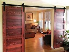 12 Ft Double Antique Modern Style Black Barn Wood Steel Sliding Door Hardware