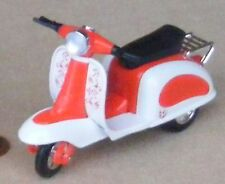 Red & White Plastic & Metal Scooter Dolls House Miniature Garden Accessory