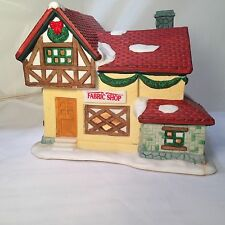 """Dickens Collectable Christmas Village Lighted Fabric Shop Porcelain 5"""" 38945"""
