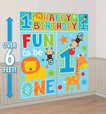 Boy 1st Happy Birthday Scene Setter first Party wall decoration Jungle animals