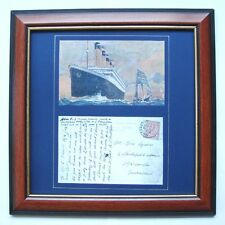 FRAMED REPRODUCTION ANTIQUE POSTCARD SENT FROM THE TITANIC QUEENSTOWN- DEVON