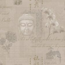 NEW Mocha 97980 Tranquility Buddha Calligraphy Elephant Orchids Wallpaper