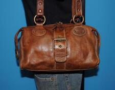 Vintage ROOTS Brown Leather Buckle Satchel Doctor Tote Shoulder Bag Purse CANADA