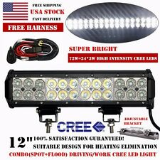 12inch 72W Cree Led Work Light Bar Flood Spot SUV Offroad Driving 4WD Fog Jeep