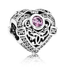 Authentic Pandora Silver OPULENT HEART ORCHID & CLEAR CZ charm 791964CZO new