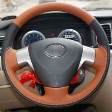 Top Orange black Leather Steering Wheel Hand-stitch on Wrap Cover Toyota Corolla