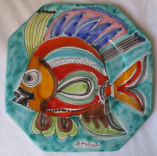 LA MUSA ITALY HAND-PAINTED COLORFUL FISH LARGE OCTAGON WALL DISPLAY PLATE