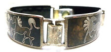 ANTIQUE VINTAGE ENAMEL GLASS STERLING SILVER HORSE EQUESTRIAN PANEL BRACELET