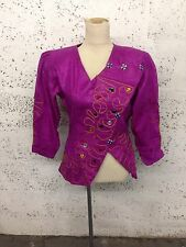 Vintage Cerise Pink Gem Embellished Embroidered Funky 80's Jacket 6/8/10 MA16