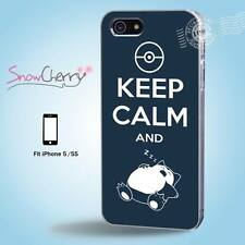 iPhone 5 5S Print Case Cover Pokemon Keep Calm And Sleep K5004