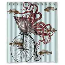 Funny Octopus Cycling Bicycle Waterproof Fabric Shower Curtain 60x72 Inch