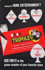 "VINTAGE BOARD GAME POSTER FOR TRIPOLY 1960'S 45"" X 29 1/2"" ROLLED MINT"
