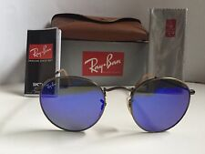 New RAY BAN Sunglasses  ROUND METAL Bronze Frame  RB 3447 167/68  Blue Lenses