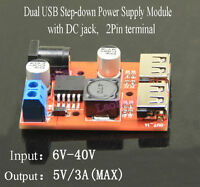 DC 6-40V To 5V 3A Buck Converter Step-down Power Supply Module Dual USB Output D