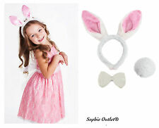 Rabbit Bunny Ears Headband Tail Bow Easter Party Fluffy Ear Kids Costume PINK