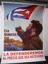 Cuban Propaganda Poster with FIDEL CASTRO Quote WE WILL DEFEND CUBA AT ANY COST