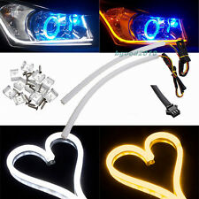 2x 45cm DRL Diurne Feu Jour Bande LED Phare Switchback Headlight Blanc Ambre 12V
