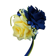 Wrist corsage:Navy Blue Light Yellow with ribbon bows.Ready to use