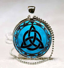 Vintage Celtic Triquet Cabochon Glass Necklace Pendant Ball Chain Necklace