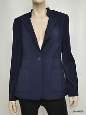 T Tahari MARLENA One Button Lined Jacket Blazer Top Coat Evening Blue 10 Nwt