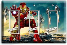 IRONMAN SUPERHERO DOUBLE GFI LIGHT SWITCH WALL PLATE COVER BOYS BEDROOM IRON MAN