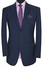 Gieves & hawkes savile row homme bleu pleine toile mohair laine costume uk 44 W38 L34!