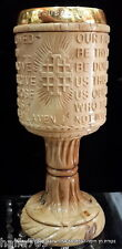 """Olive wood christian Communion Cup grail """" OUR FATHER WHO ART IN HEAVEN"""" Script"""