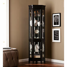 CCC79960 BLACK LIGHTED CORNER CURIO CABINET