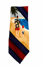 NWT Tommy Bahama Mens Red Blue Striped Reflections Necktie Silk Boy & Dad Beach