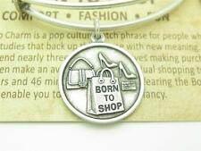 "Authentic Wind & Fire ""Born to Shop"" Charm Wire Bangle Bracelet Made In The USA"