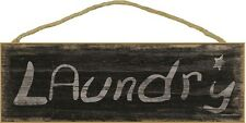 "Black Laundry Worn Rustic Star Sign Plaque 15""x5"""